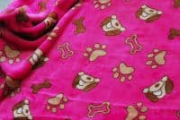 Double Sided Supersoft Cuddlesoft Fleece Fabric Material - DOG & BONE PINK
